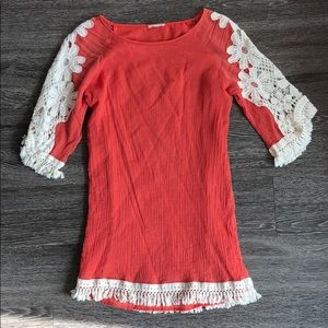 Coral Dress with Cream Fringe & Lace